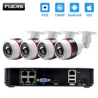 FUERS 4CH 1080P POE NVR CCTV System 4PCS 2MP FHD Outdoor IP Camera IP66 Waterproof Home Security Camera NVR System HDMI VGA P2P
