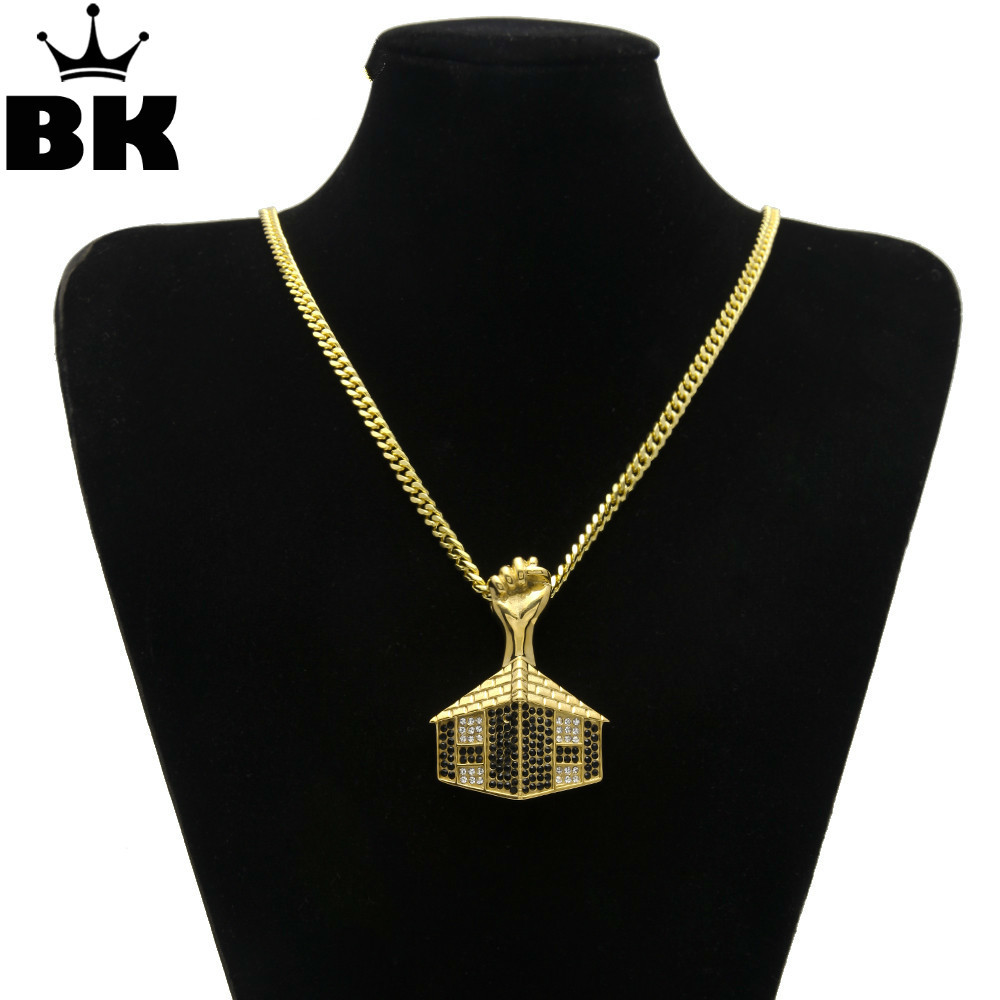 2017 Hip Hop Gold Color Iced Out Rhinestone Pyramid