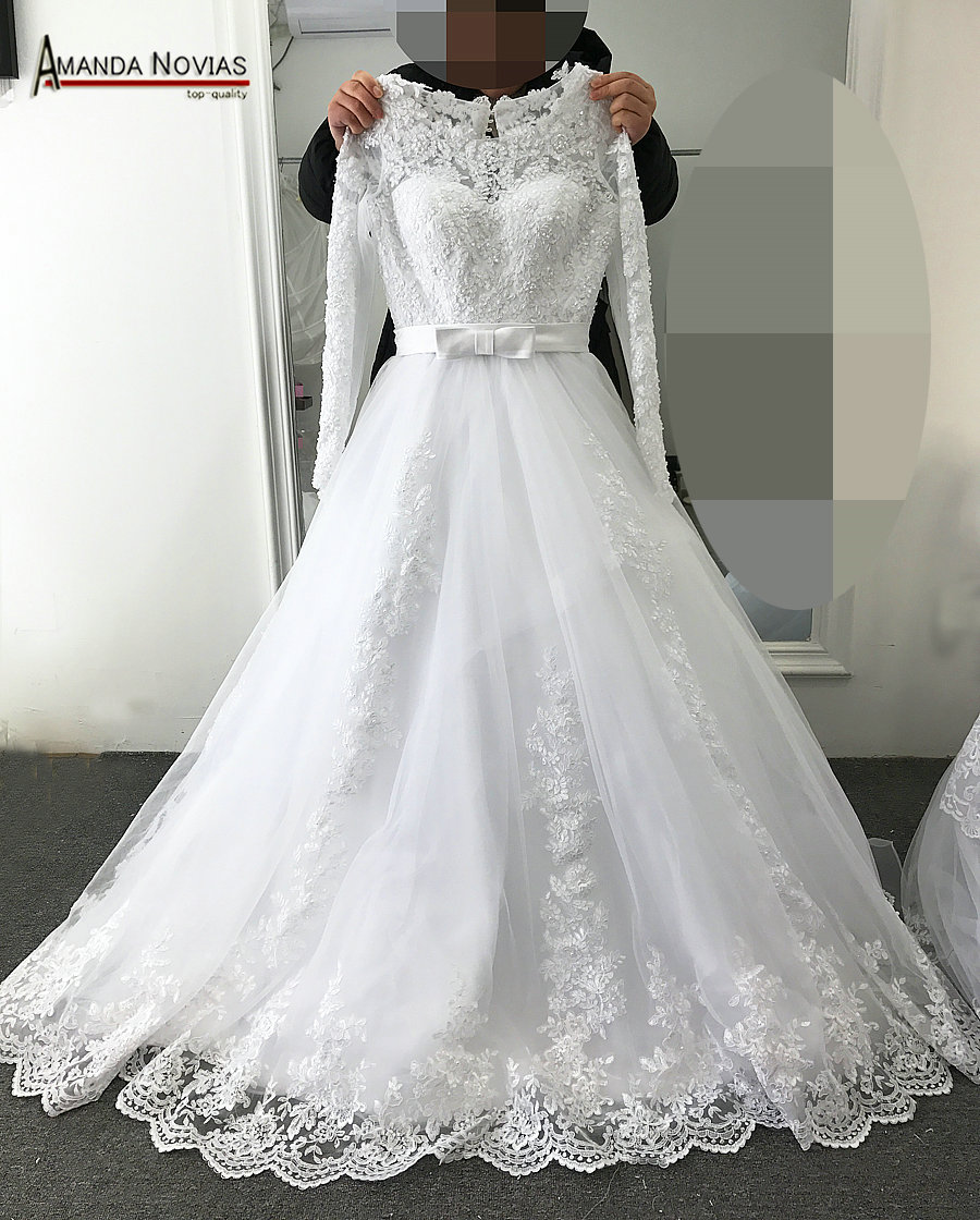 2017 new design simple but elegant lace a line long sleeve for Simple elegant wedding dress designers