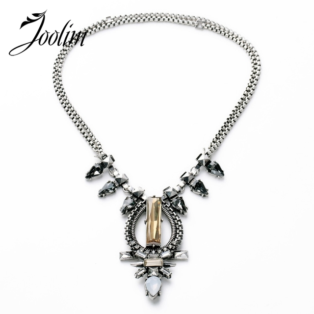 JOOLIM  Antique Silver Color Adjustable Chain Convertible Necklace Statement Necklace Fashion Jewelry Style