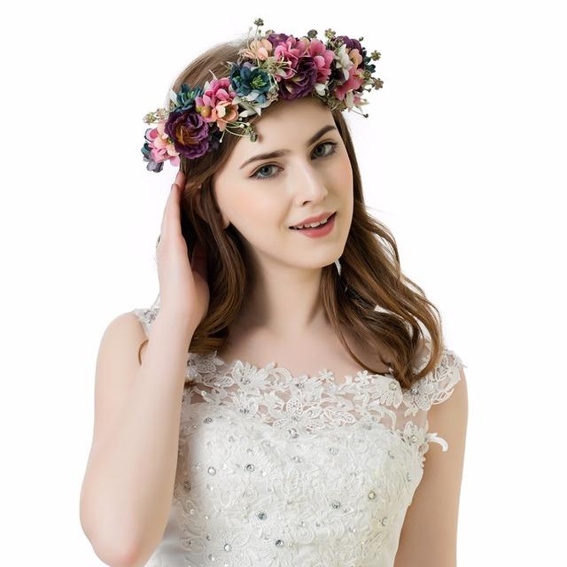 AWAYTR  Women Artificial Flowers Wreath Crown Garland Halo for Wedding Festivals Girls Women Wreath Headpiece Boho Floral crown