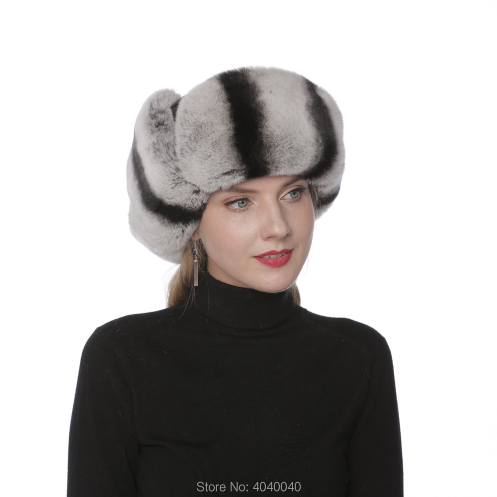 Bravalucia 2018 Real Fur Hat for Women & Men Genuine Lamb Leather Rex Rabbit Furs Ushanka Bomber Hats Russian Cossack Winter Ski