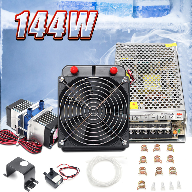 US $84 24 |144W 12V DIY Semiconductor Thermoelectric Peltier Refrigeration  Air Conditioner Cooling System Kit CPU Computer Cool Cooler-in Fans &