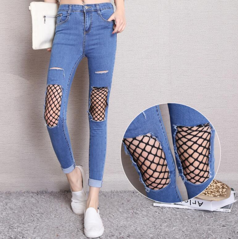 2017 new spring summer Stretch hole high waist jeans sexy Mesh Women Elastic Jeans Female skinny Pencil Denim Pants s677 2017 new fashion women elastic waist high waist skinny stretch jeans female spring jeans pencil pants plus size full length sexy