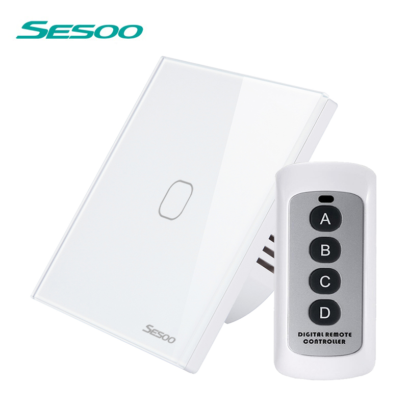 SESOO Remote Control Switch 1 Gang 1 Way ,White,RF433 Smart Wall Switch, Wireless remote control touch light switch 2 port digital wireless remote control wall switch white silver