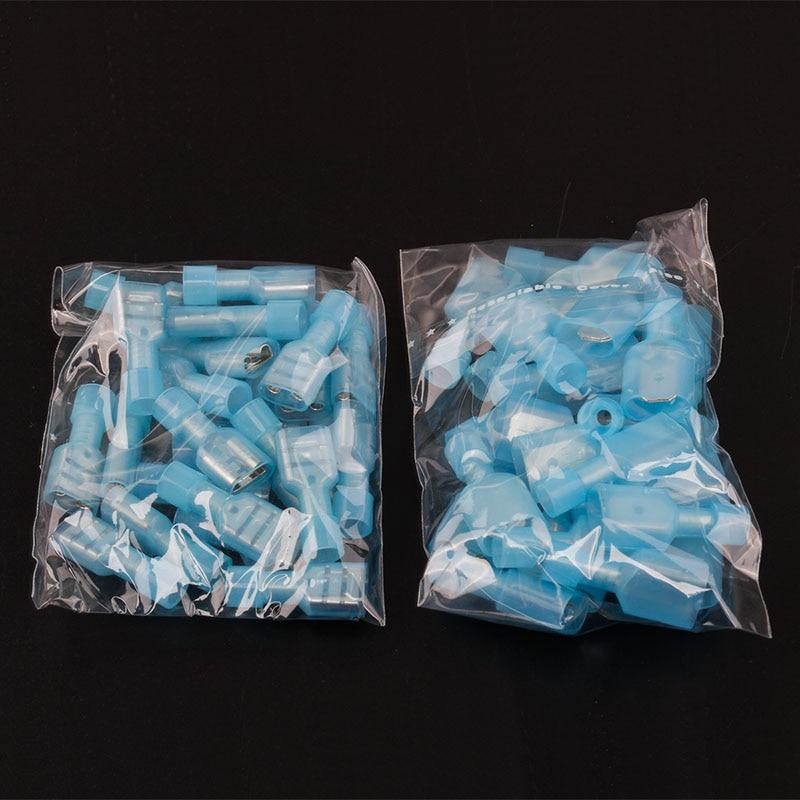 100 шт. мужской и женский нейлоновый обжимной Терминатор комплект синий полностью изолированный стыковый Электрический провод кабель Разъе...
