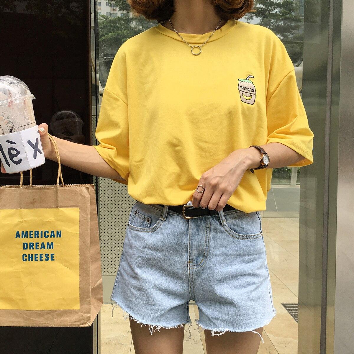2016 sommer Neue Nette Banana Milch Bestickt Einfach Alle Spiel Kurzarm Weibliche T-shirts