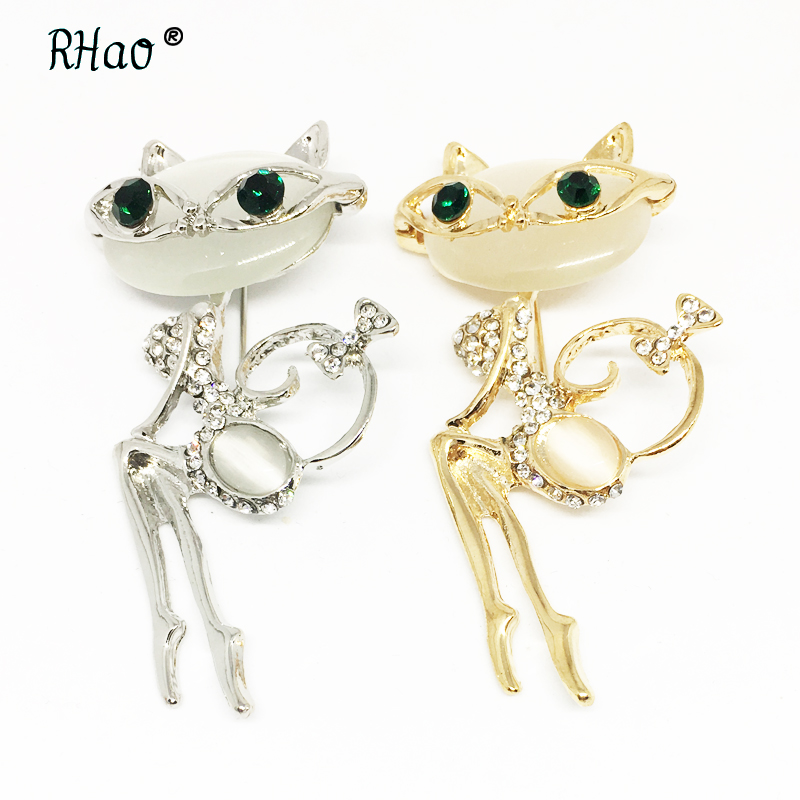 RHao Sexy Cat brooches for women dress clothes jewelry Green eyes opal and Rhinestone animal cats brooch hijab pins wedding gift