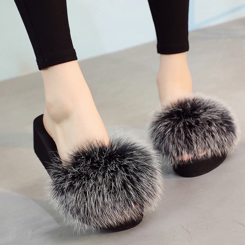 Women Fox Fur Slippers Real Fur Slides Flat Thick Heel Beach Sandals Plush Furry Summer  ...