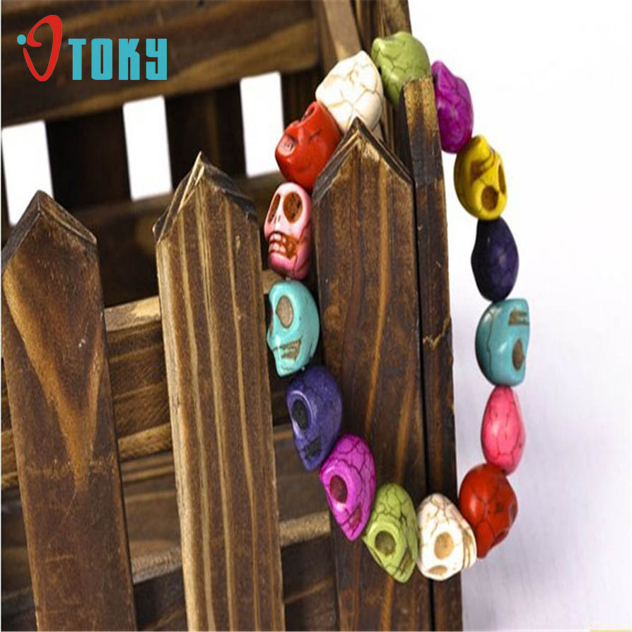 OTOKY Gussy Life Bracelet Strand Colorful Gem Skull Tibet Buddhist Prayer Beads Mala Jewelry May2718