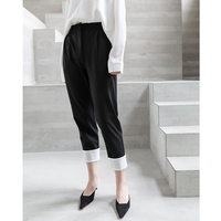 Black Retro Slim Stretch Pencil Pants Women Autumn 2018 New Korean Style Elasticated High Waist Ankle length Trousers 8310
