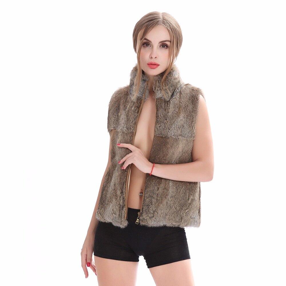 ZY88042 2017 New Arrival Fashion Women Real Full Pelt Rabbit Fur Mandarin Collar Zipper Fur Vest Sleeveless Jacket Gilet