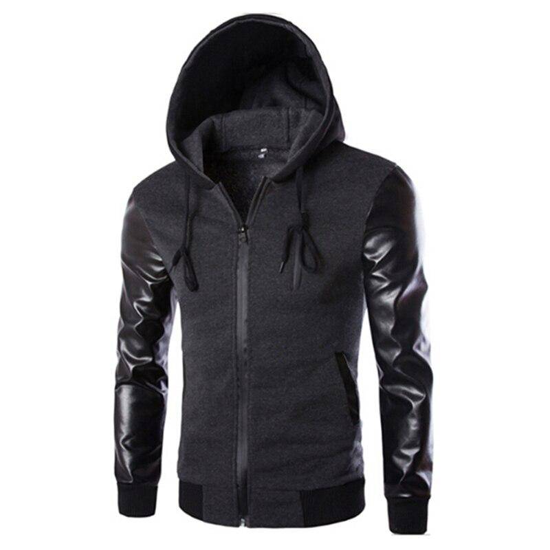 Autumn Casual Jacket Men Hooded Jacket And Coat Pu Leather Sleeve Slim Outerwear Coat Men Zipper Coat Hoody Sportswear Be Novel In Design