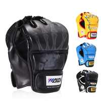 Free Size Adults Kids Half Fingers Boxing Gloves Mitts Training Punching Bag Mitts Sparring Boxing Gloves