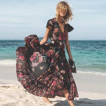 31f77b16e6c ... вырезом Винтаж принт Длинные платья Повседневное Сара... DeRuiLaDy 2019  новый для женщин Летнее для пляжа в богемном стиле Макси платье Sexy V  образным