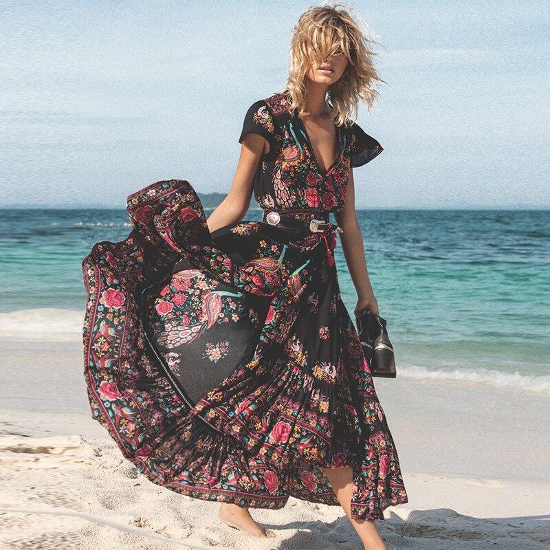 DeRuiLaDy 2019 las nuevas mujeres de verano Boho Maxi Vestido de playa Sexy V cuello Vintage largo vestidos casuales vestido vestidos