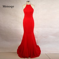 Sexy Women Red Mermaid Chiffon Beaded Halter neck 2018 Real Sample vestido de festa Long Fitted Prom dresses