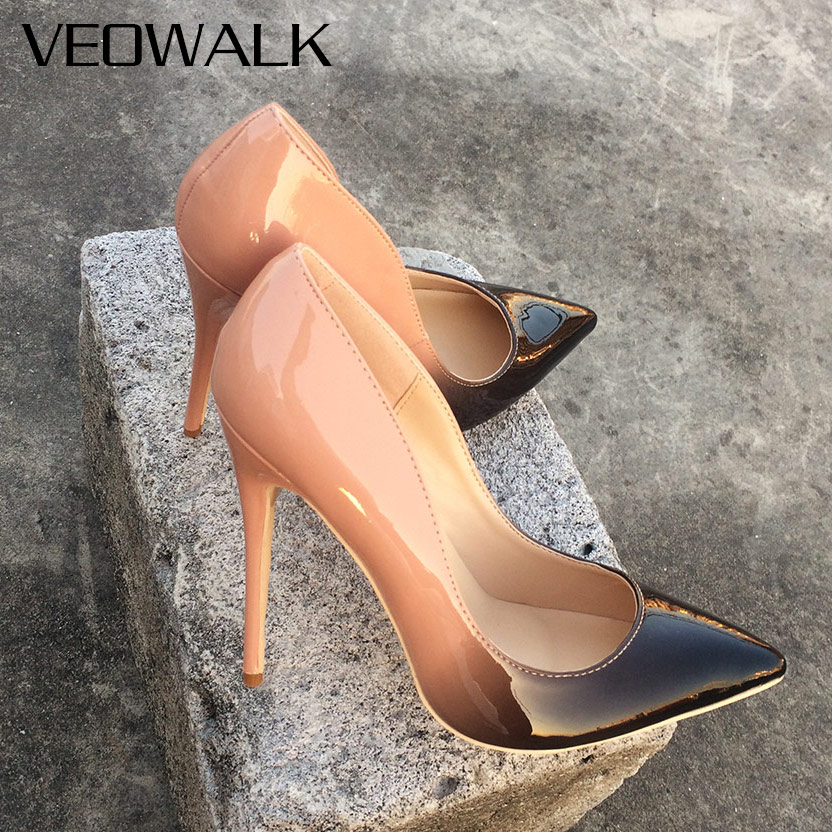 491260c9c Detail Feedback Questions about Veowalk Gradient Colors Women Sexy Pointed  Toe Pumps Thin Stiletto High Heels Shoes Ladies Patent Leather Fashion Party  ...