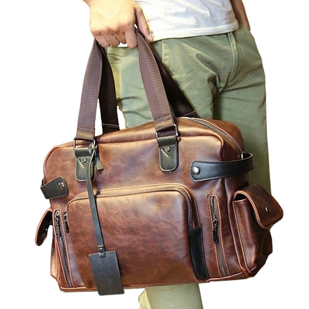 Men's  Crazy Horse Leather Travel Bags Luxury Style Men'S Messenger Bag Retro Large Capacity Men Bags Fashion shoulder Bag