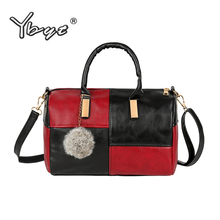 YBYT brand 2018 new patchwork bags hotsale hairball women le