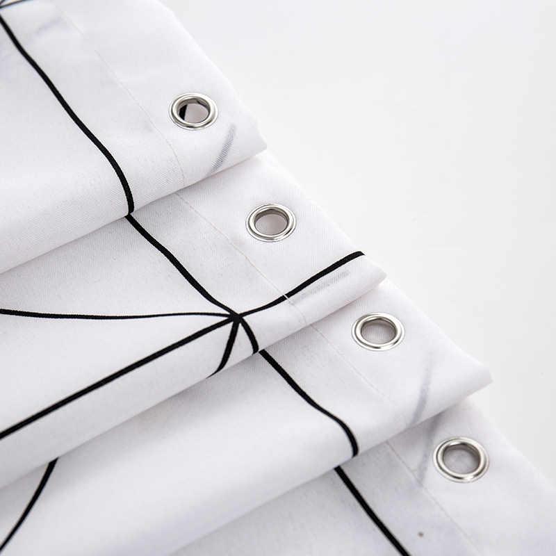 موضة الأبيض شبكة طباعة الستائر الستائر للحمام متنوعة الحجم البوليستر ستارة حمام دش مقاوم للماء الستائر ديكور المنزل