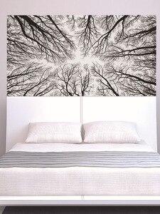 Image 3 - שחור ענפי עץ 3D ראש המיטה קיר מדבקת חדר השינה מיטת המיטה ויניל בית תפאורה