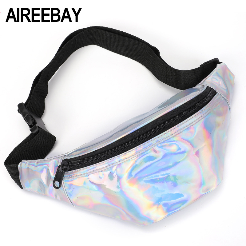 AIREEBAY Holographic Fanny Pack Female Silver Pink Bum Bags Waist Handbags Hip Wallet Female Chest Bag Women LaserBelt Bag