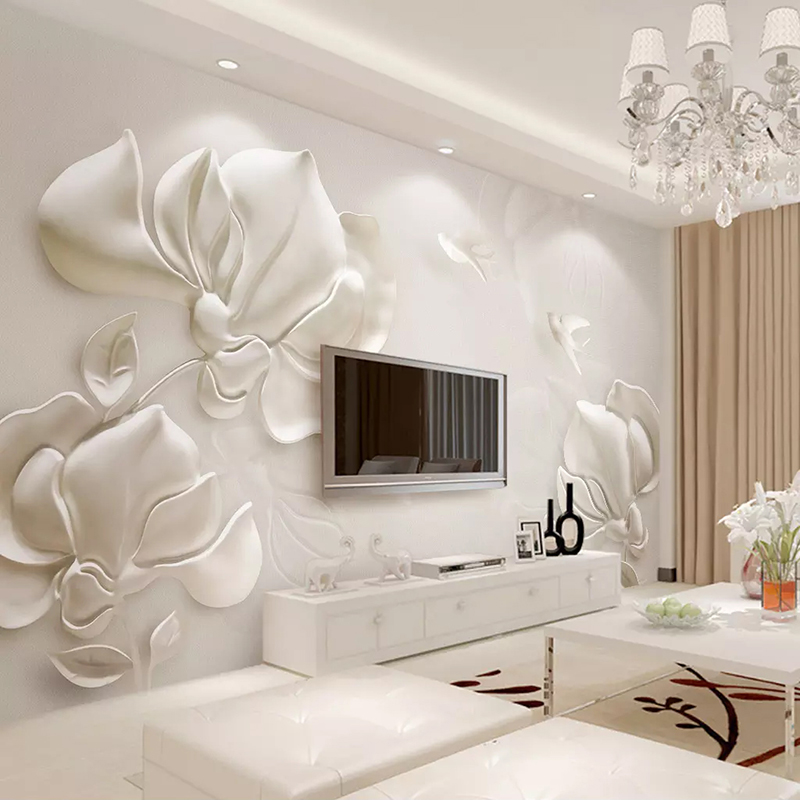 Custom Wall Mural Wallpaper 3D Plaster Relief Magnolia Flower Bird Modern Living Room TV Background Art Wall Painting Home Decor