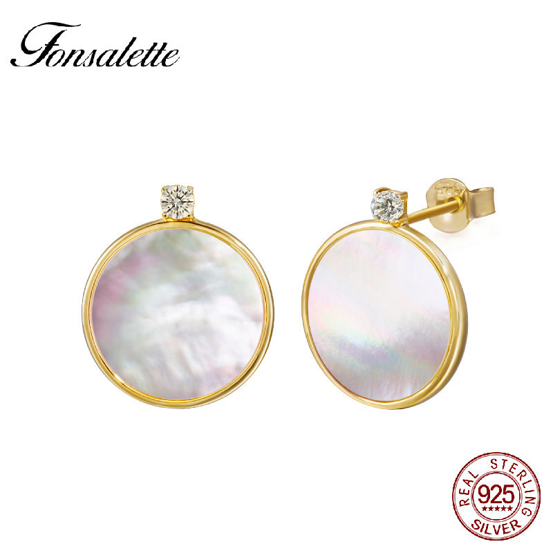 Fonsalette 925 Sterling Silver 18K Gold Tone Cubic Zircon Natural Shell Stud Earrings Round Mother of Pearl Earrings GirlsZK30 pair of zircon gold plated stud earrings