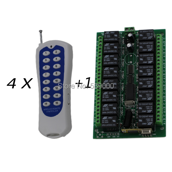 315HZ DC 24V 16CH wireless remote control switch RF transmitter Controller with receiver for wireless motor control tp760 765 hz d7 0 1221a