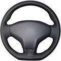 Couro Artificial preto Tampa Da Roda de Direcção Do Carro para Citroen Elysee C-Elysee 2014 Novo Elysee Peugeot 301 2013-2016