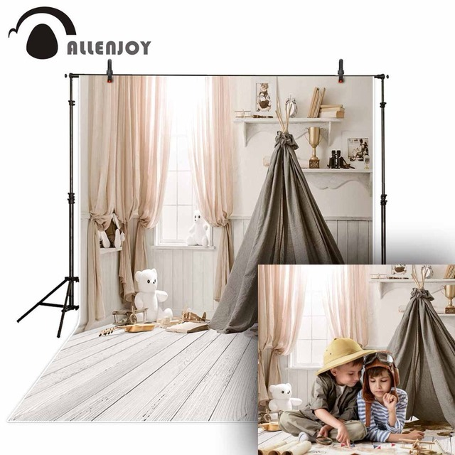 Allenjoy photophone white backdrop baby shower tent wood board curtain studio indoor child photography background photocall