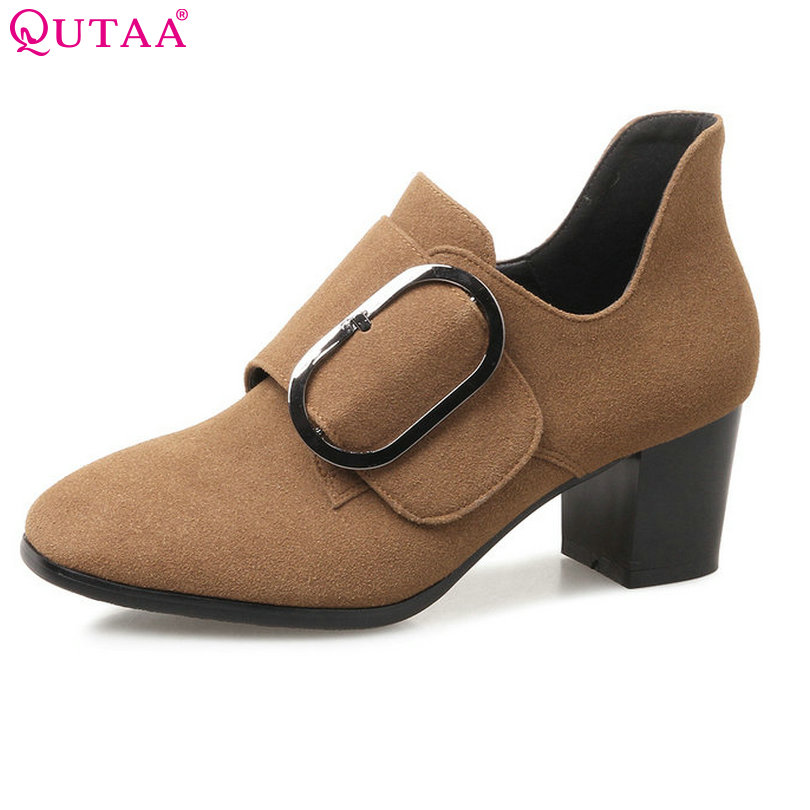 QUTAA 2018 Women Pumps All Match Women Shoes Genuine Leather Hook&Loop Square Med Heel Platform Ladies Pumps Size 34-43 qutaa 2018 women pumps ladies shoes