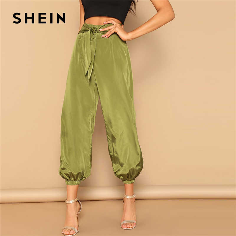 21cb66e7ce7e SHEIN Army Green Zip Back Knotted Front High Waist Harem Pants Women Satin  Crop Trousers Spring