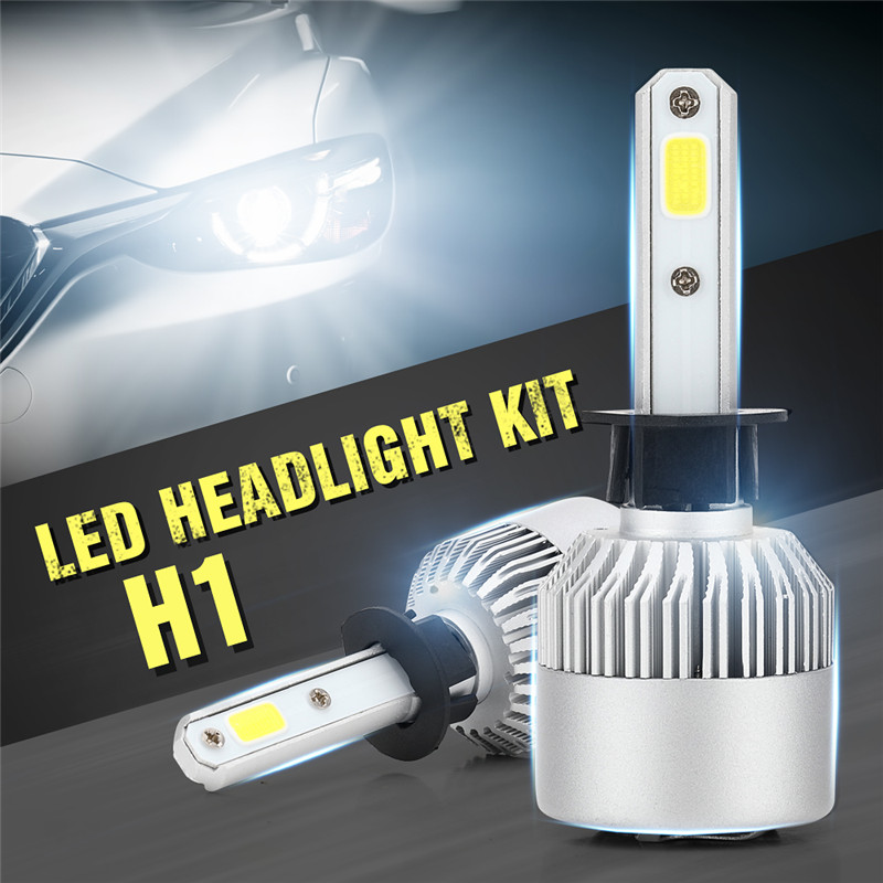2pc LED COB car Headlight Kit H1 Car Bulbs Lamps Lights replace halogen Automobile Headlamp DC12V 6500K 200W 10000LM White Light