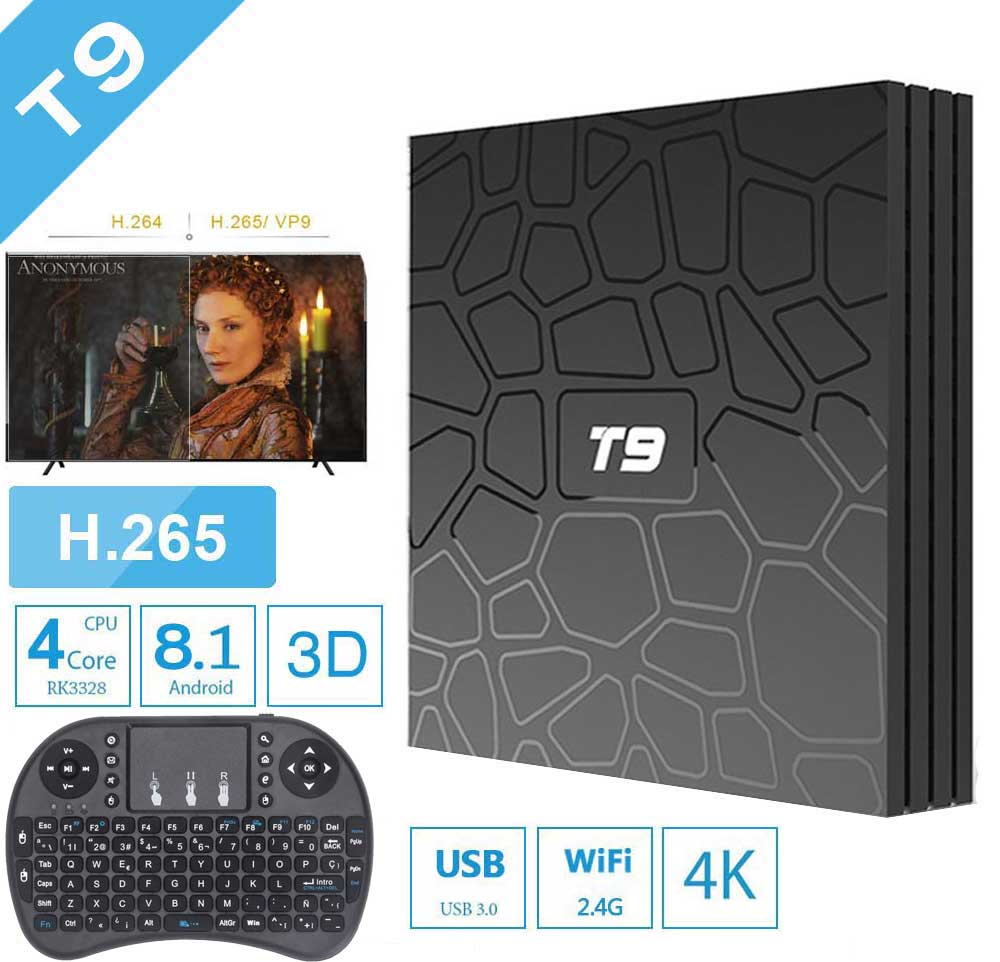 T9 RK3328 Android 8.1 Qcta-core 4+64GB TV Box 2.4G//5G WIFI Bluetooth 4K Player
