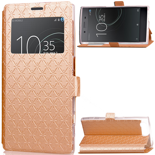 big sale 759a6 ee1b2 US $4.24 15% OFF|For Sony Xperia X Compact Case Bling Glitter Window View  Flip Wallet Card Case For Sony X Compact Gold Folding Cover Book Case-in ...