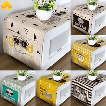 Meet Nice Microwave Oven Cover High Quality Printer Cotton Linen Fabric With Storage Bag Kitchen Cartoon Fashion Cat Dust