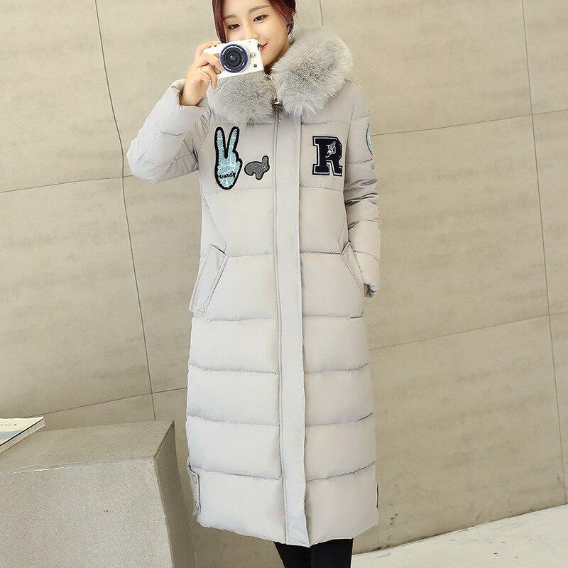 Winter Coat Jacket Women 2016 New Hooded Fur Collar Down Jackets Slim Long Women Cotton Coats Thick Warm Female Outerwear W1079