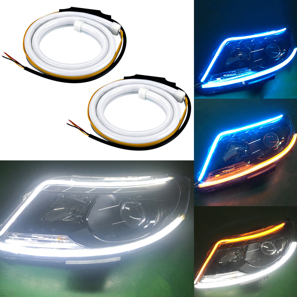 2pc 60cm LED DRL Strip Car Day Light Flexible Turn Signal Amber Flowing Flashing Yellow Daytime Running Lights Headlight Strip 1 pair car led lights 12 24v drl head lights 8w turn light strip