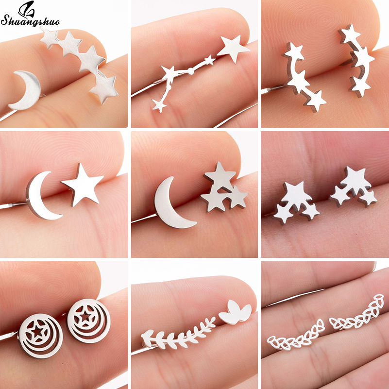 Shuangshuo Fashion Star Moon Earrings Ear Climber Tiny Leaf Stud Earrings For Women Ear Crawlers Stainless Steel Pendientes Gift