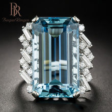 Bague Ringen High Quality Luxury Topaz 100% 925 Sterling Silver Created Blue Gemstone Rings Wedding Engagement Fine Jewelry new(China)