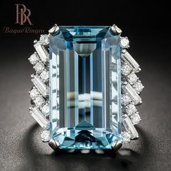 Bague Ringen Lüks Oluşturulan Topaz 100% 925 Ayar Gümüş Düzenlendi Mavi Taş Yüzük Düğün Nişan Güzel Takı yeni