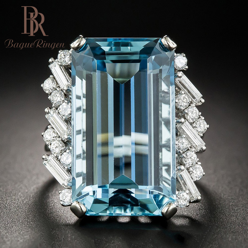 Bague Ringen  Luxury Created Topaz 100% 925 Sterling Silver Created  Blue Gemstone Rings Wedding Engagement Fine Jewelry New