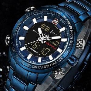 Image 2 - NAVIFORCE 시계 남자 전체 스틸 쿼츠 디지털 시계 방수 시계 남자 패션 블루 시계 Relogio Masculino Dropshipping