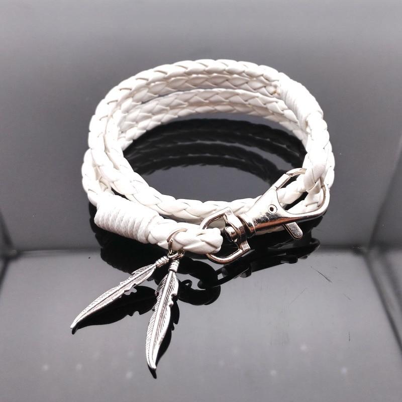 Us 1 61 15 Off Leather Bracelets For Women Wristband White Bracelet Men Plant Leaf Hand Wrap Braided Bangle Long 42cm In