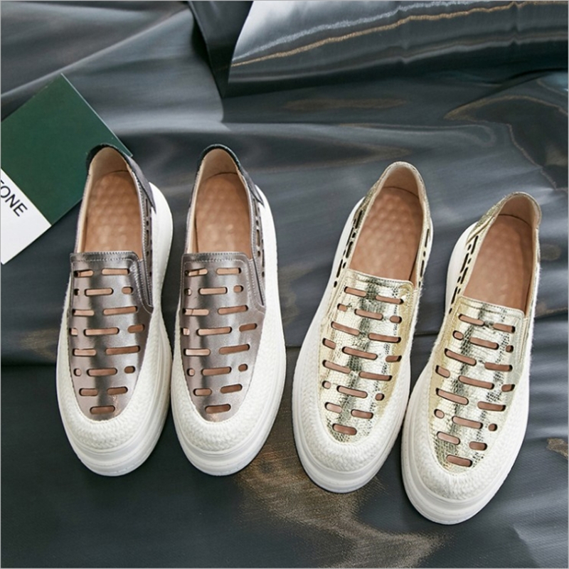 Plataforma Las On Pisos Slip Cuero Del Oxford silver De Dedo Pie Genuino Mujeres Zapatos Redondo Casual Damas Golden rrPqp8
