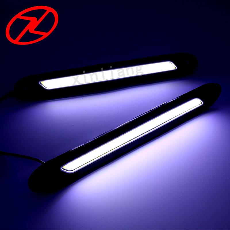 2 PCS fleksibel dipimpin daytime running lights 12 V COB 6000 K Putih - Lampu mobil - Foto 6