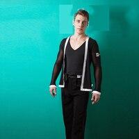 Men Latin Dance Shirt Black V Collar With Coat 2pcs Male Dance Costumes Modern Rumba Chacha Latin Ballroom Dance Wear BL1351