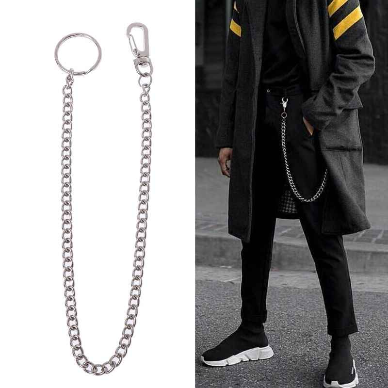 Hip Hop Pants Chain Secure Travel Wallet Chain Heavy Duty Jeans Link Coil Leash